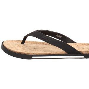 247c03b75bb7 UGG Shoes - Men s 11 UGG Bennison II Black Leather Flip Flops